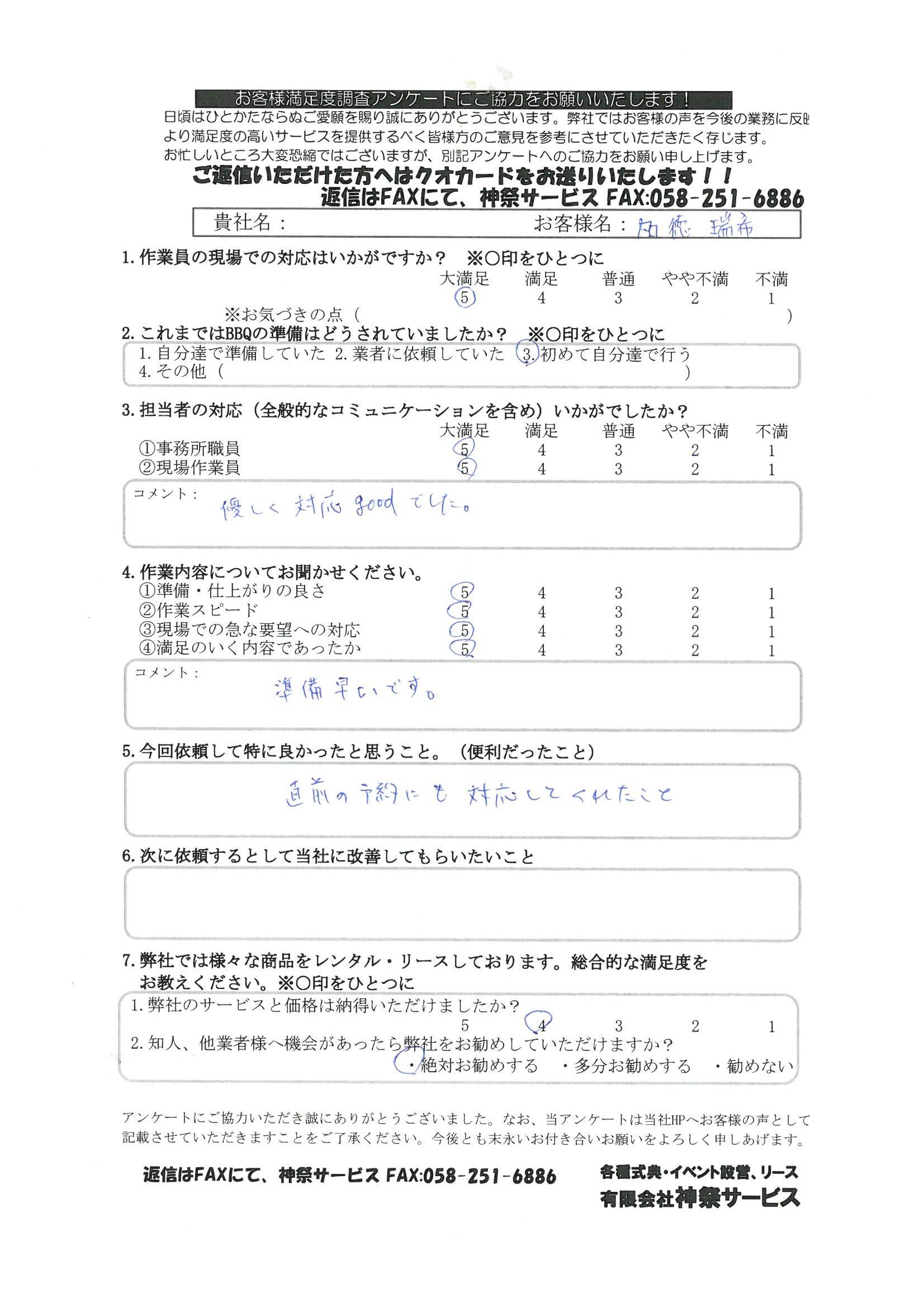 豊田大橋BBQ加徳様